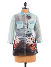 Multicolored Floral Print Polyester Tunic - By
