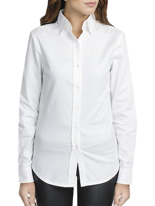 White self striped cotton shirt -  online shopping for Shirts
