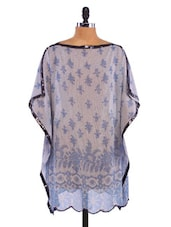 Blue Polyester Printed Cover-up - By
