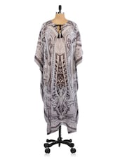 Grey And White Polyester Printed Cover-up - By