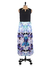 Blue Floral Print Polyester Dress - By
