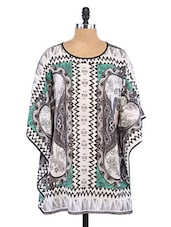 White And Green Polyester Printed Cover-up - By