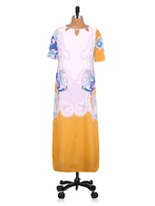 White And Yellow Polyester Printed Dress - By