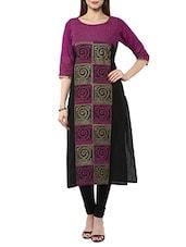 Purple Cotton Long Kurta - By