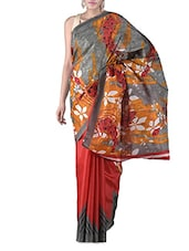 Red Printed Bhagalpuri Silk Saree - By