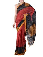 Maroon Printed Bhagalpuri Silk Saree - By