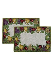Avira Home Bright Fruit Garden Table Mat- Set Of 2-Machine Washable - By