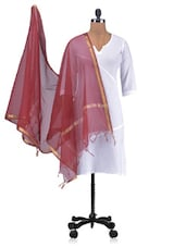 Red Chandheri Silk Plain Dupatta - By - 1246456