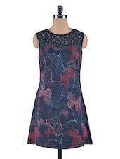 Navy Blue Poly Crepe Printed Dress - By