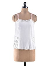 White Sleeveless Laced Top - By