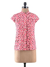 Coral Pink Poly Crepe Printed Shirt - By