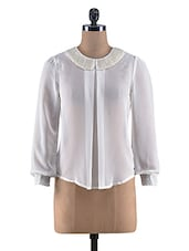 Offwhite Poly Georgette Beaded Collar Top - By