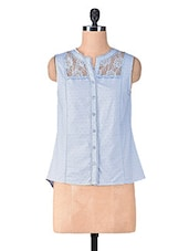 Solid Sky Blue Cotton Laced Top - By