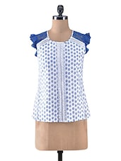 White And Blue Cotton Printed Top - By