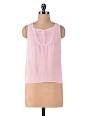Pink Polygeorgette Laced Top - By