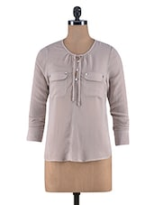 Beige Poly Georgette Full Sleeves Top - By