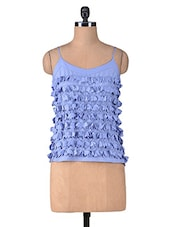 Blue Polycrepe Appliqu�� Top - By