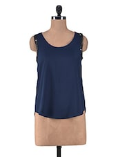 Navy Blue Polycrepe Sequined Top - By