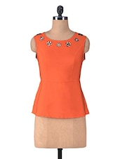 Orange Polycrepe Sleeveless Top - By