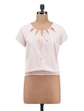Pink Plain Poly Crepe Top - By