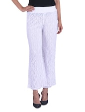 Solid White Net Lace Palazzo - By