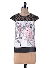 Floral Printed Black And White Top - By