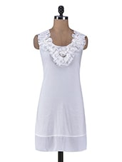 White Dress With Ruffle Neckline - By