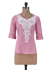 Pink Top With Lace Applique - By