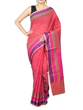 Red Cotton Art Silk And Zari Saree - By