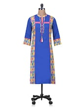 Printed Royal Blue Anarkali Kurta - By