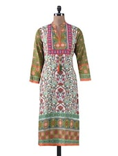 Printed Green Cotton Long Kurta - By