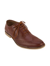 brown synthetic lace up brouges -  online shopping for Brouges