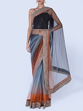 Ombre Grey Embellished Net Saree - By