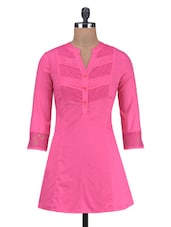 Solid Pink Cotton Laced Kurti - By