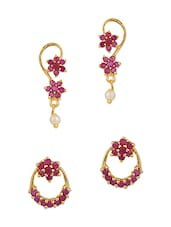 pink gold plated studs earring -  online shopping for Earrings