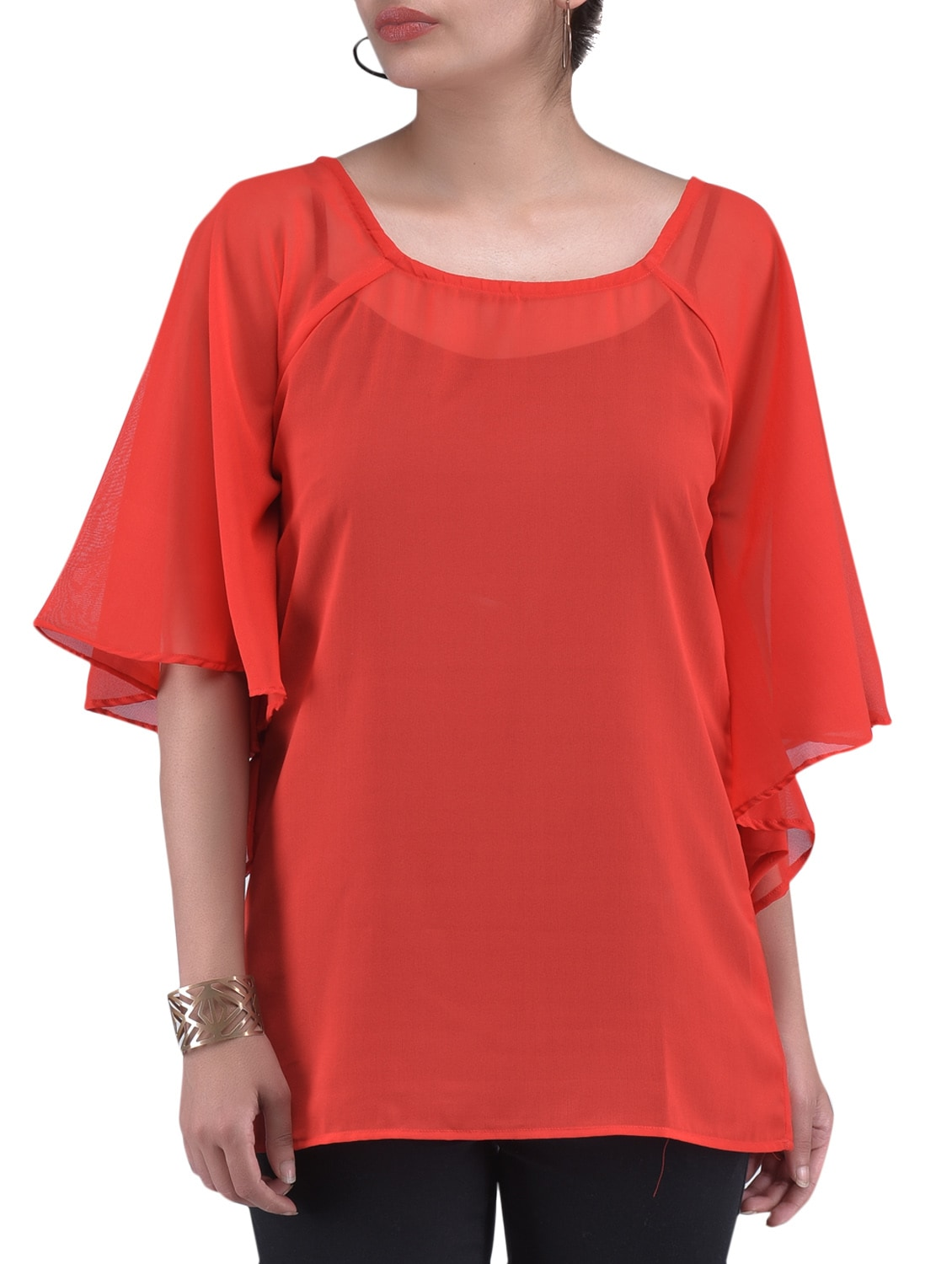 Solid Red Polygeorgette Top - By