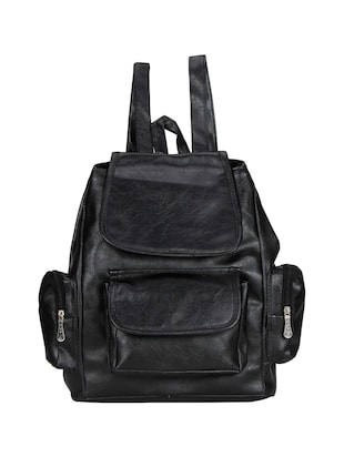 Black synthetic leather backpack -  online shopping for backpacks