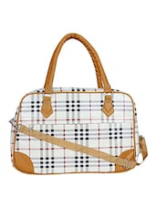white synthetic leather check printed utility bag -  online shopping for Utility bags