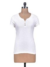 White Cotton Knit  Plain Top - By