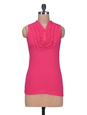 Pink Cotton Knit Plain Top - By