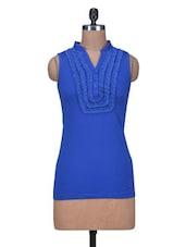 Blue Cotton Knit Plain Top - By