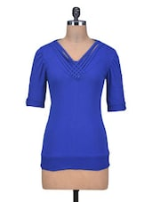 Blue Viscose Knit Plain Top - By