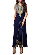 Navy Blue Georgette Embroidered Semi Stitched Suit Set - By