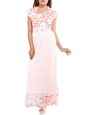 light pink floral printed chiffon dress -  online shopping for Dresses