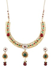 Gold Metallic Kundan Worked Necklace Set - By - 1247676