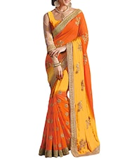 orange georgette saree -  online shopping for Sarees