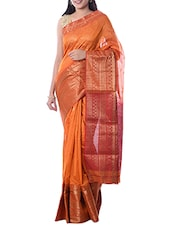 Orange Maheshwari Silk Woven Saree -  online shopping for Sarees
