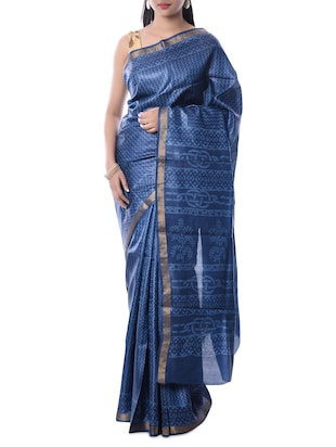 Blue Tussar Silk Woven Saree -  online shopping for Sarees