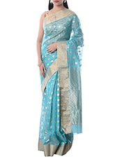 Sky Blue Chanderi Silk Woven Saree -  online shopping for Sarees