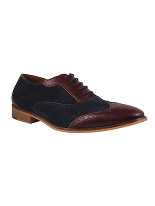Genuine Leather Burgundy and Navy Blue Brogues -  online shopping for Brouges
